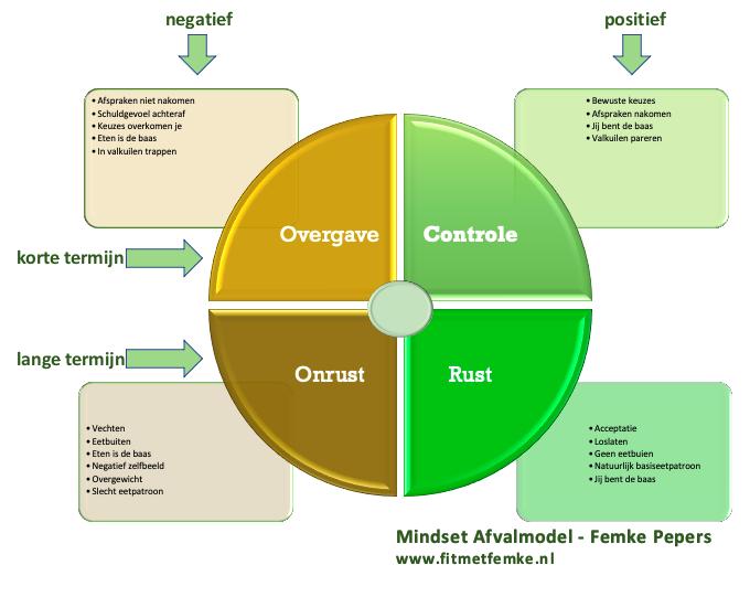 Het uitgewerkt Mindset Afvalmodel van Femke Pepers. Over de verschillende fases van blijvend afvallen met je mindset.